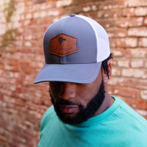 Old South Apparel Signature Leather Patch Graphite/White Hat