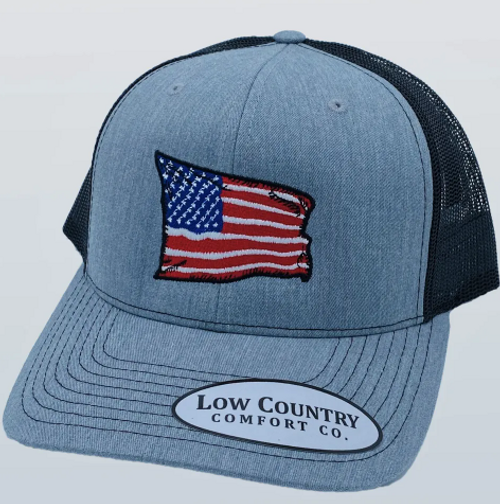 Low Country Comfort Co. USA Wavy Flag Heather/Black Hat
