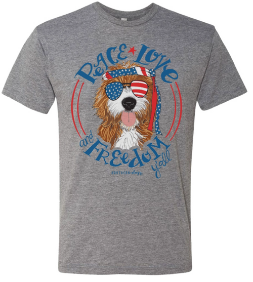 Southernology Peace Love Freedom Oliver Front Print Grey SS