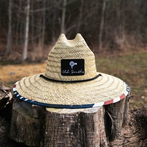 Old South Apparel American Flag Straw Hat