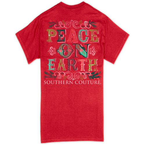 Southern Couture Peace On Earth Red SS