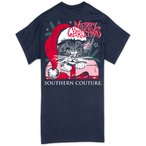 Southern Couture Merry Christmas Cat Navy SS