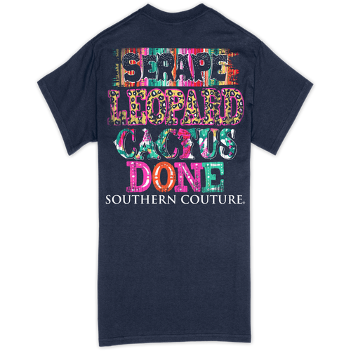Southern Couture Serape Leopard Cactus Navy SS