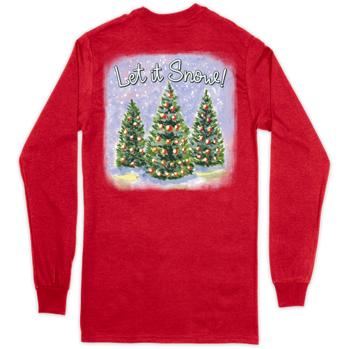 Southern Couture Let It Snow Red LS
