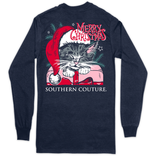 Southern Couture Merry Christmas Cat Navy LS