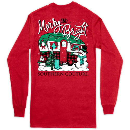 Southern Couture Merry & Bright Camper Red LS