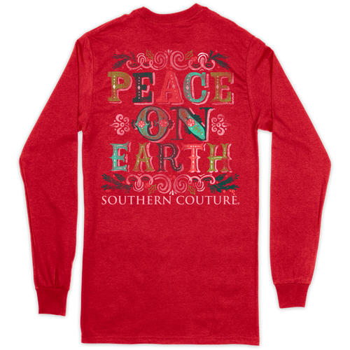 Southern Couture Peace On Earth Red LS