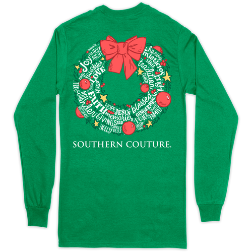 Southern Couture Christmas Wreath Irish Green LS