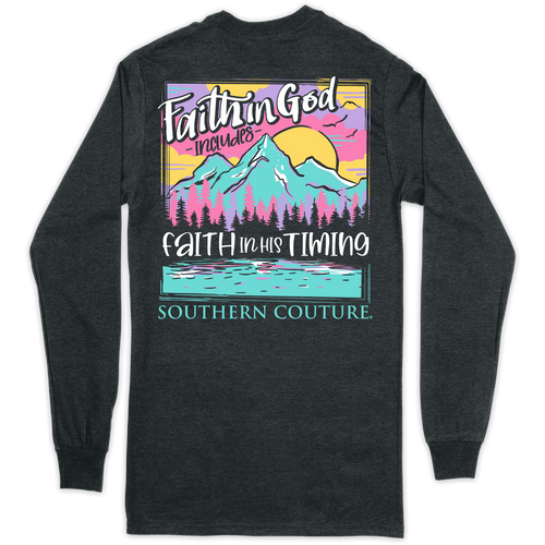 Southern Couture Faith in God Dark Heather LS