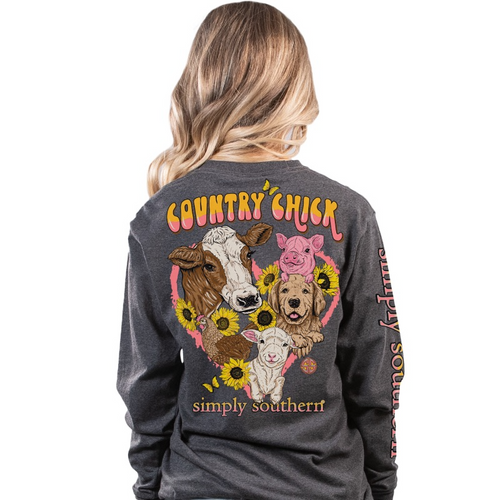 Simply Southern Chick Dark Heather Gray LS