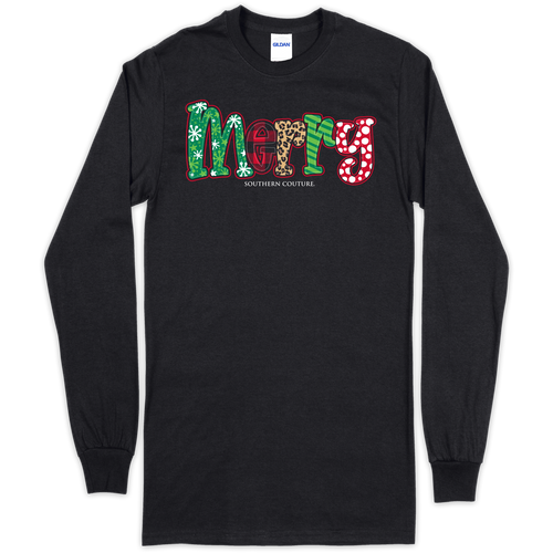 Southern Couture Patterned Merry Black LS