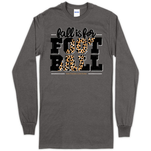 Southern Couture Fall Is For Football Charcoal LS