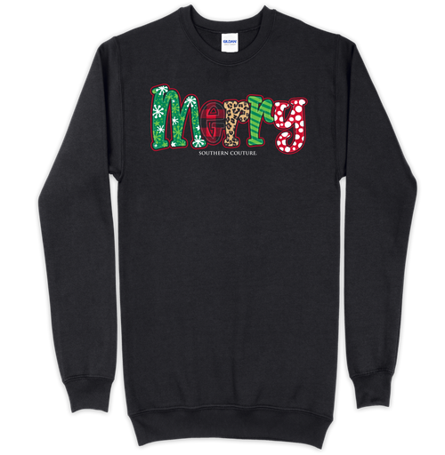 Southern Couture Patterned Merry Black Sweatshirt