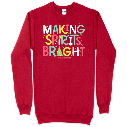 Southern Couture Making Spirits Bright Cherry Red Sweatshirt