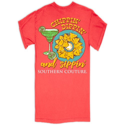 Southern Couture Chippin Dippin Neon Red Orange SS