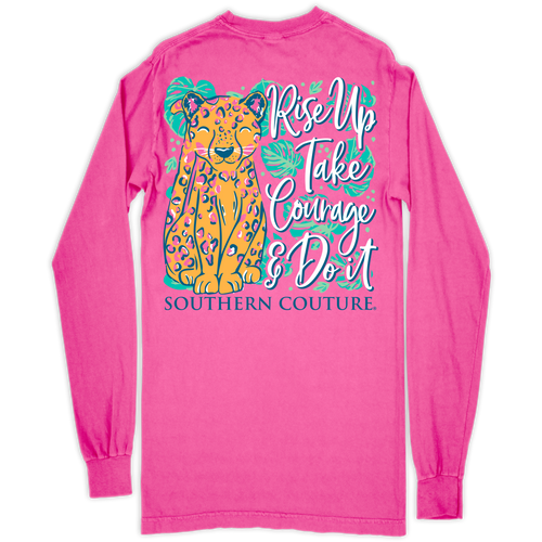 Southern Couture Rise Up Cheetah Neon Pink LS