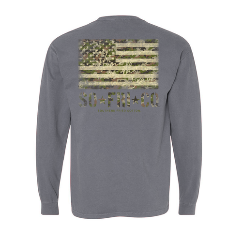 Southern Fried Cotton Camo Flag-LS