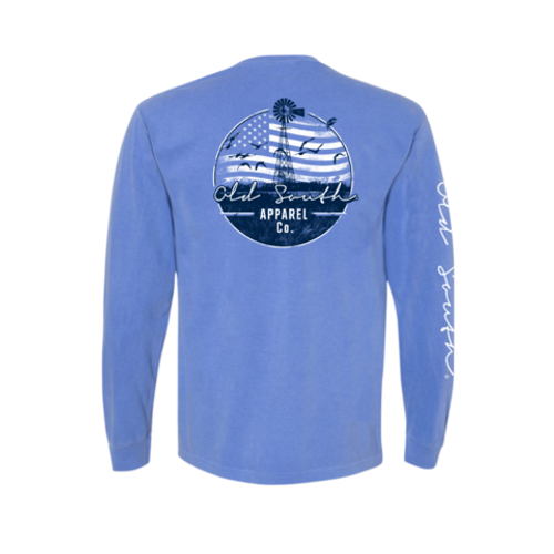 Old South Apparel Windmill Flag Flo Blue LS