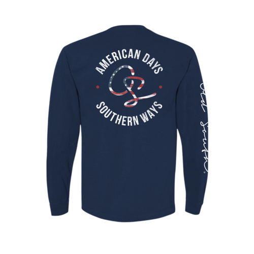Old South Apparel American Days Navy LS