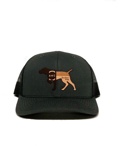 Southern Snap NC Leather Pointer Gray/Black Hat