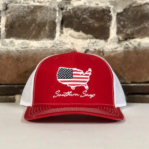 Southern Snap USA Map Red/White Hat