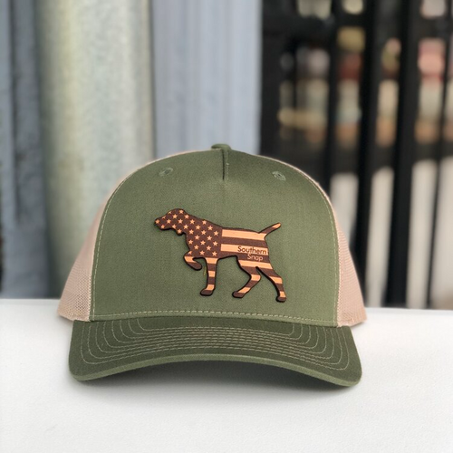 Southern Snap Hunter Pointer Leather Green/Khaki Hat