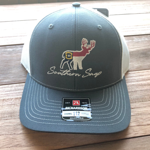 Southern Snap NC Embroid. Deer Gray/White Hat