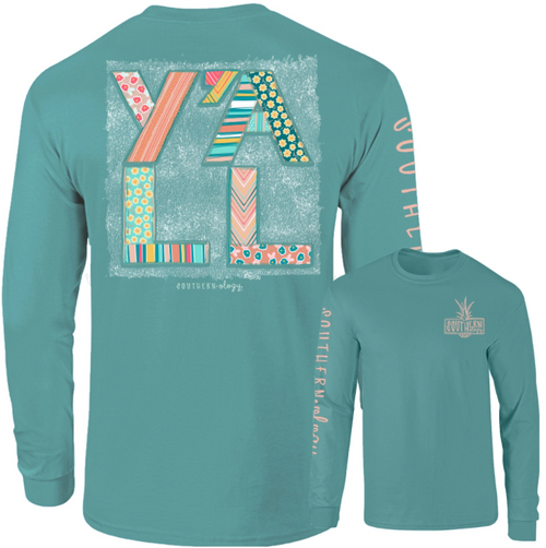 Southernology Y'all Pattern Seafoam LS