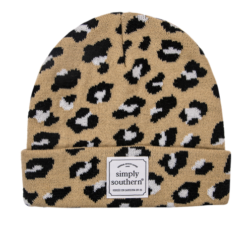 Simply Southern Pattern Beanie Leopard Brown