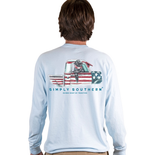 Simply Southern Men's USA Truck Chambray LS