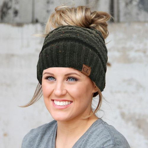 C.C. Messy Bun Beanie Speckled New Olive