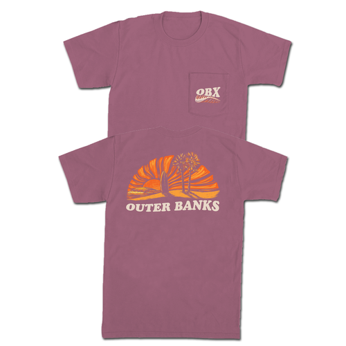 Old Row OBX Waves Sunset Pocket Tee Berry