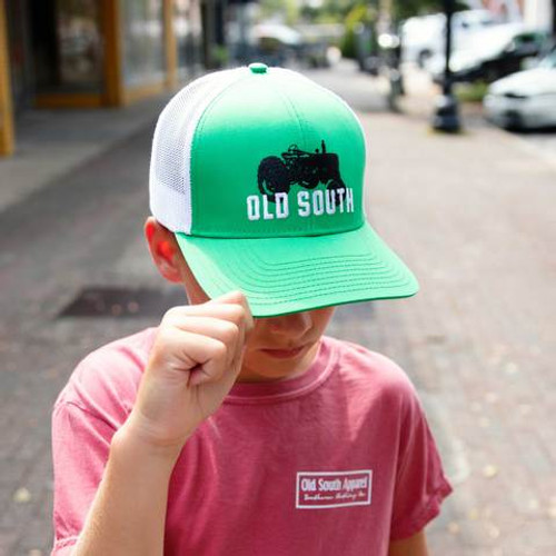Old South Apparel Youth Trucker Hat Tractor Green/White