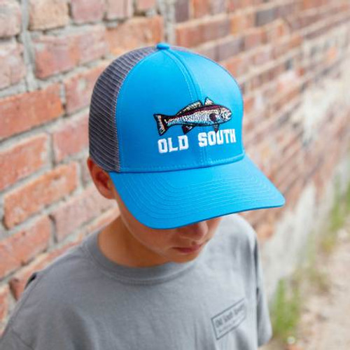 Old South Apparel Youth Trucker Hat Red Fish Ocean Blue/Charcoal