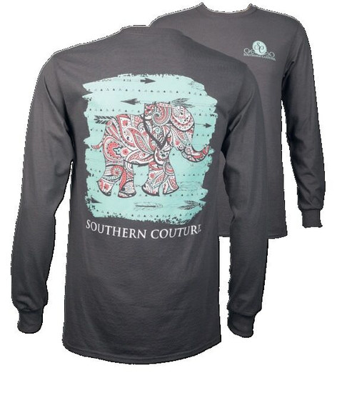 Southern Couture Charcoal Paisley Elephant Long Sleeve