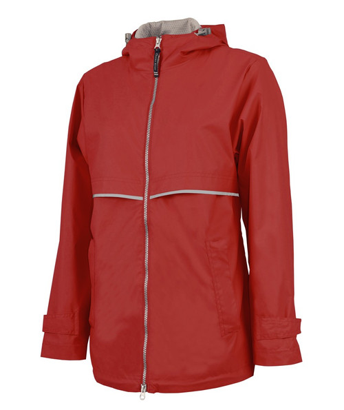 Charles River Monogrammed Raincoat Red