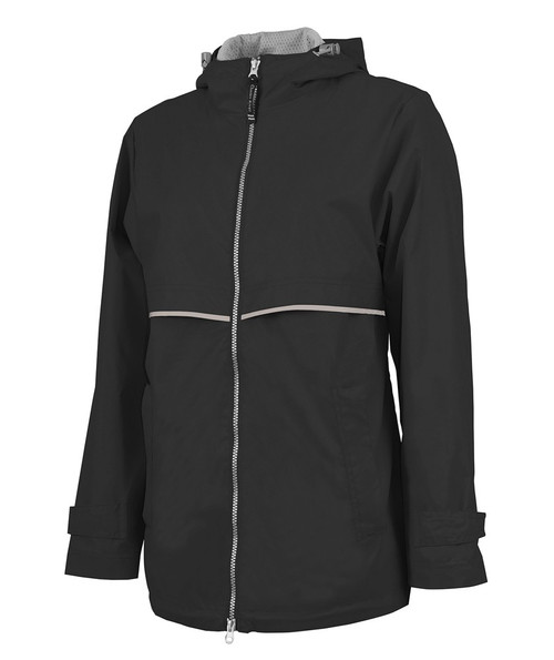 Charles River Monogrammed Raincoat Black