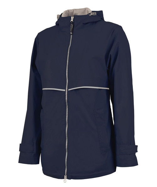 Charles River Monogrammed Raincoat Navy