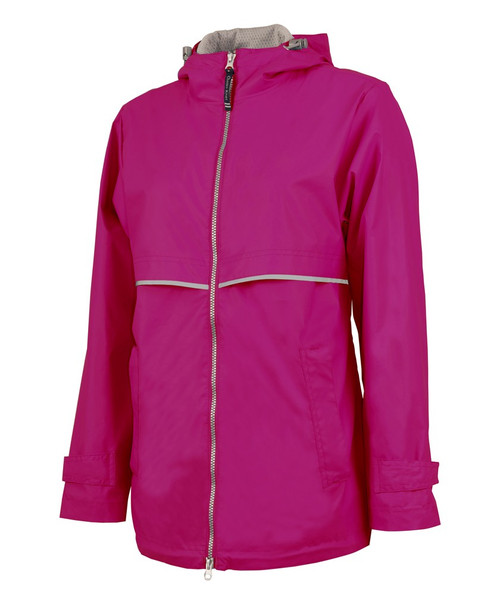 Charles River Monogrammed Raincoat Hot Pink