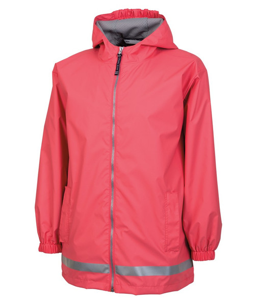 Charles River Monogrammed YOUTH Raincoat Coral