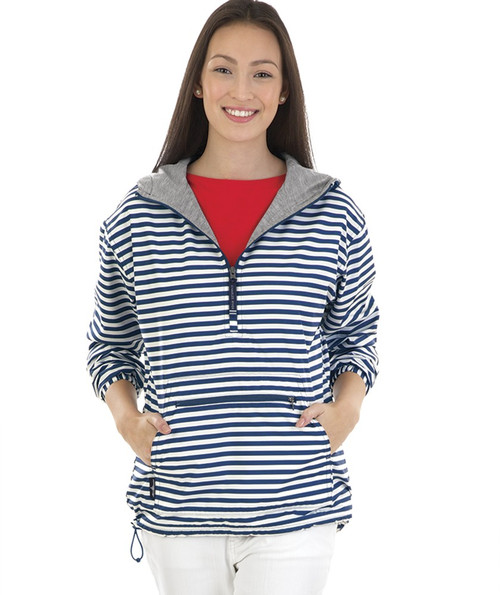 Charles River Monogrammed Chatham Anorak Navy / White Striped