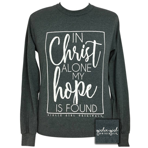 Girlie Girl In Christ Alone Dark Heather LS