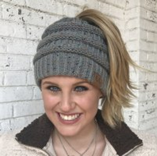 Natural Grey Speckled Messy Bun Beanie
