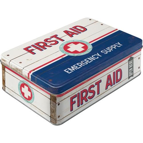 First Aid Kit Tin Metal Flat Storage Box (empty)