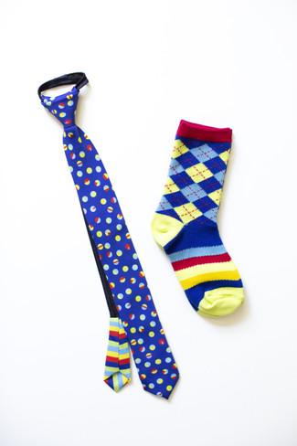 Boys Bouncing Colors Necktie & Socks Combo (Ages 6-9)