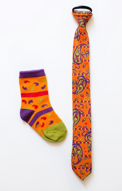 Boys Dancing Paisley Necktie & Socks Combo (Ages 6-9)