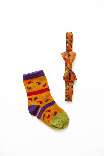 Boys Dancing Paisley Bow Tie & Socks Combo (Ages 3-5)