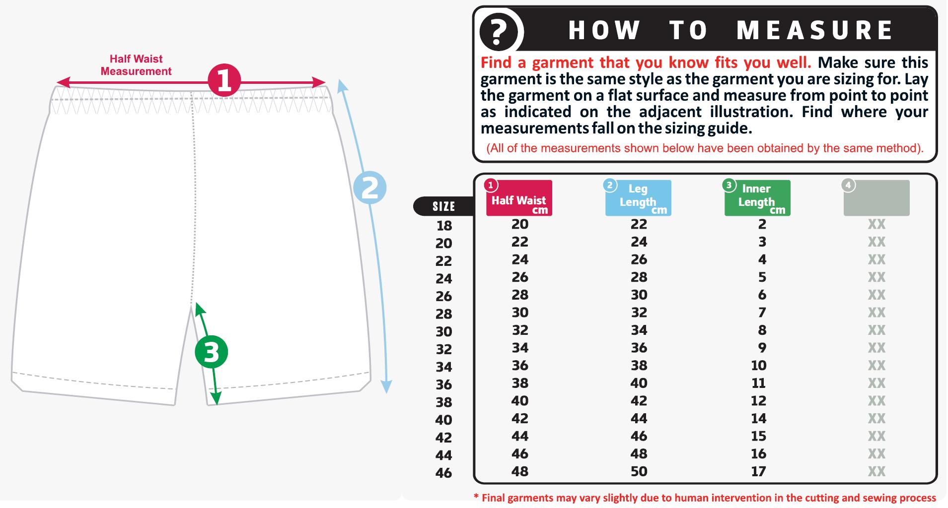 Unisex size guide shorts