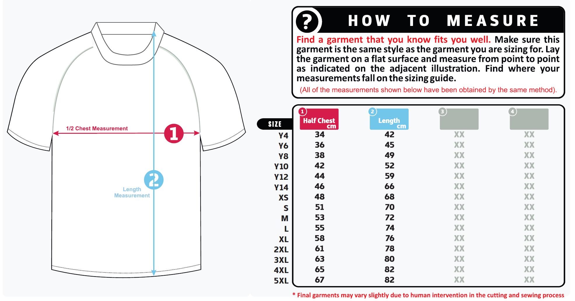 Unisex Size Guide Shirt