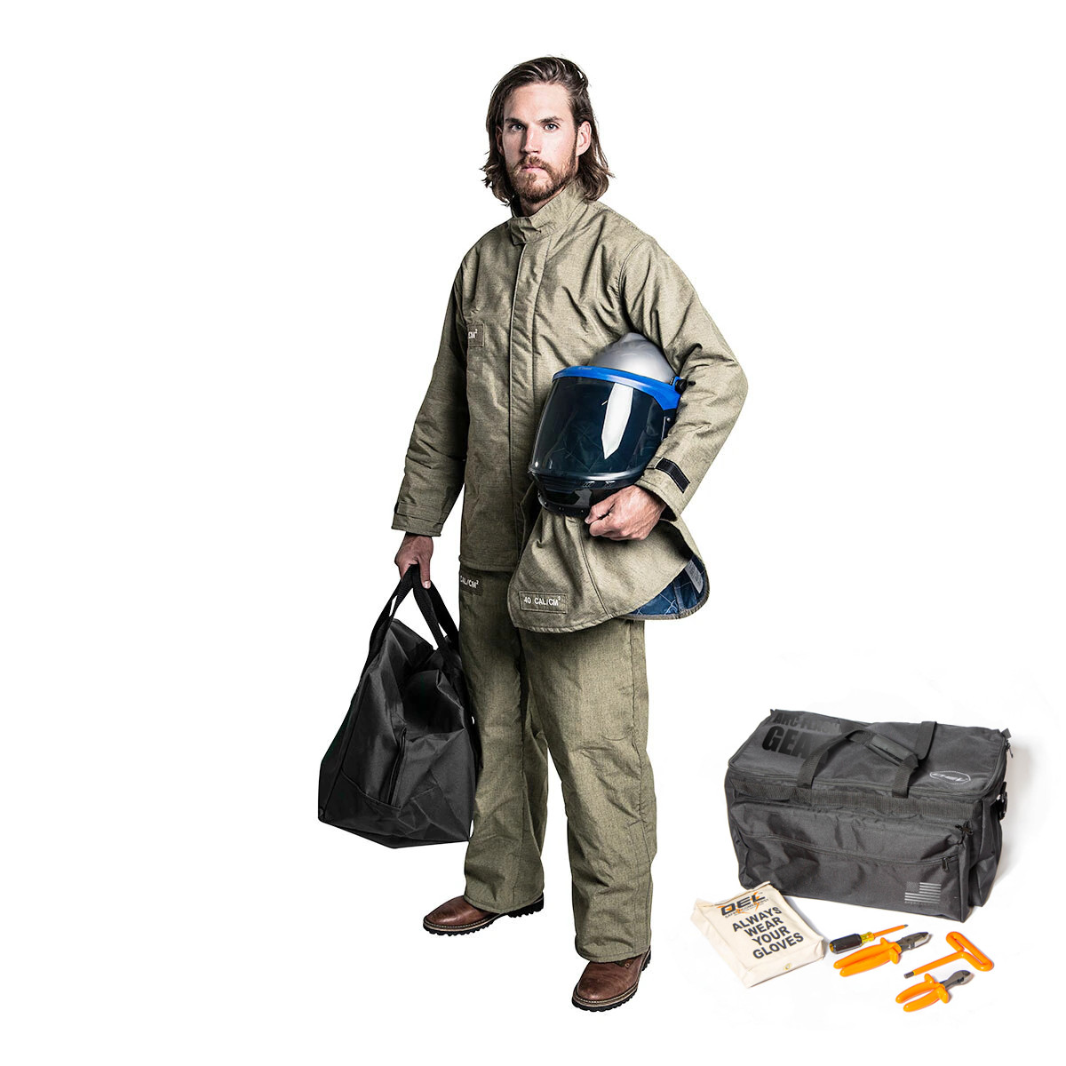 40 Cal PREMIUM Jacket and Bib Overalls Kit w/ LIFT FRONT HOOD *CLEAR* Lens